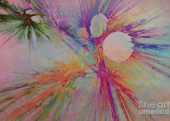 Abstract Greeting Card featuring the digital art Mind Energy Aura by Deborah Benoit