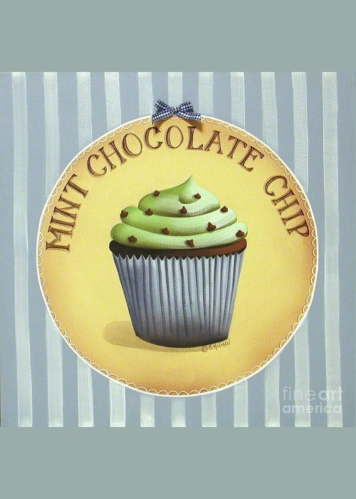 Art Greeting Card featuring the painting Mint Chocolate Chip Cupcake by Catherine Holman