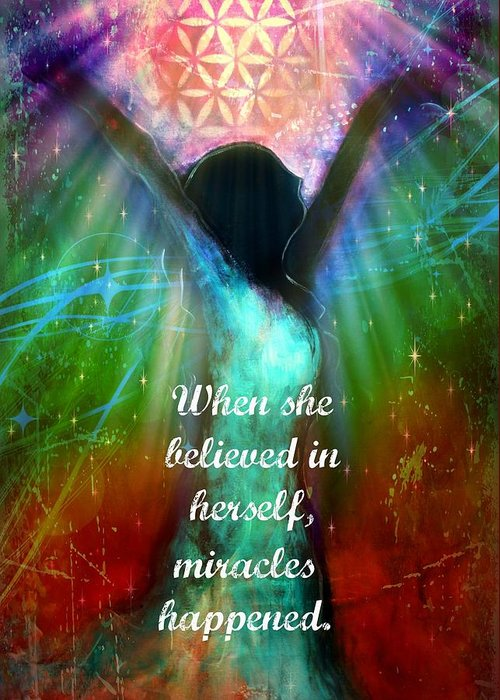 Figurative Greeting Card featuring the digital art Miracles Happen by Tara Catalano