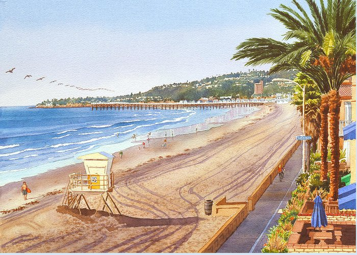 Mission Beach Greeting Card featuring the painting Mission Beach San Diego by Mary Helmreich