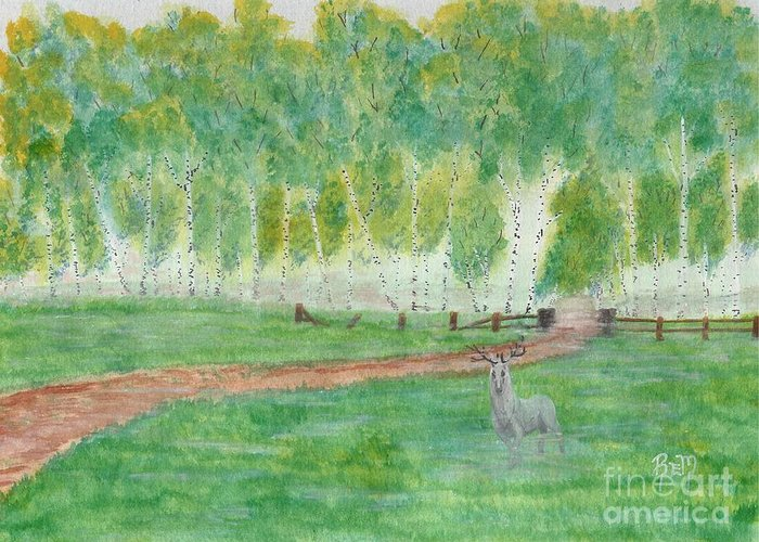 Landscape Greeting Card featuring the painting Mist's Guardian by Robert Meszaros