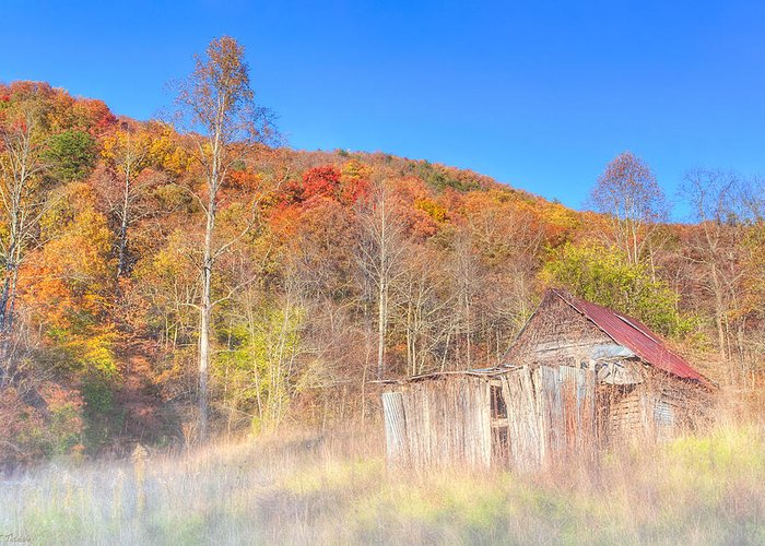 North Greeting Card featuring the photograph Misty Fall Morning In The Valley - North Georgia by Mark E Tisdale