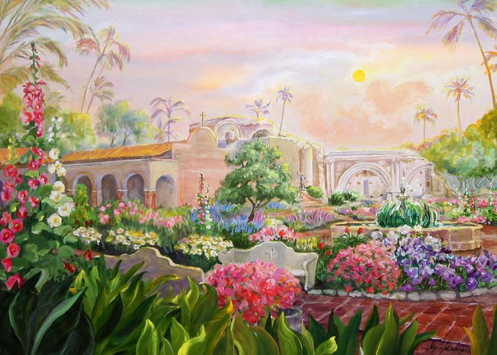 Overview Painting Of Mission San Juan Capistrano From The Visitors Entrance Showing The Huge Garden With Roses And Hollyhocks And A Few Trees. The Entrance Walkway To The Inner Court That Goes Slightly Uphill From The Entrance. The Large Pool With Koi Carp (like Gold Fish) And A Graceful Fountain That Is Between The Entrance An The Many Stone Ruins That Mark The Place Where The Great Stone Church Fell In The Earthquake Of 1812. Greeting Card featuring the painting Misty Morning At Mission San Juan Capistrano by Jan Mecklenburg