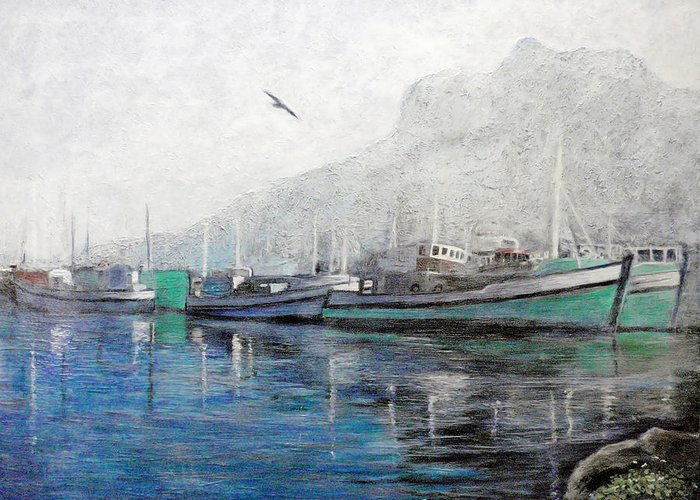 Morning Greeting Card featuring the painting Misty Morning In Hout Bay by Michael Durst