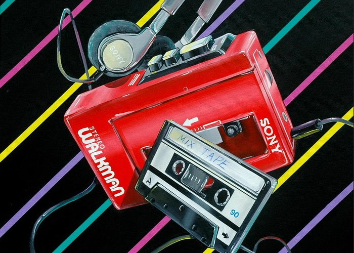 1980s Greeting Card featuring the painting Mix Tape by Anthony Mezza