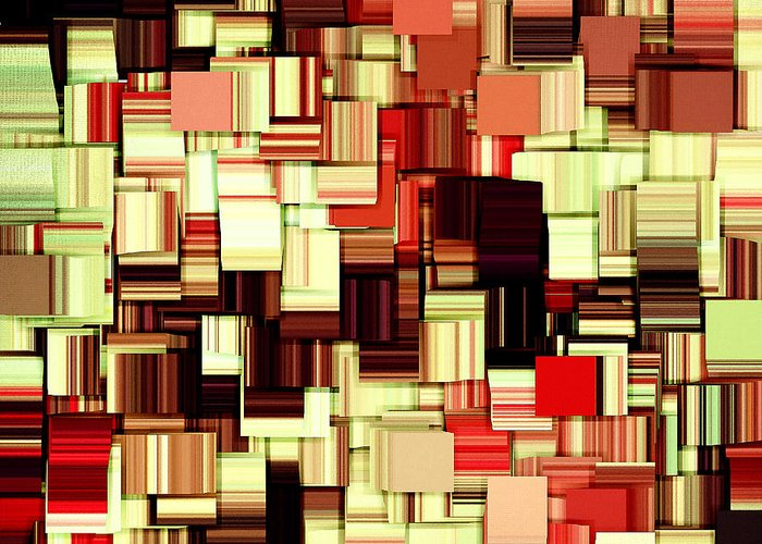 Abstract Greeting Card featuring the digital art Modern Abstract Art Xvii by Lourry Legarde