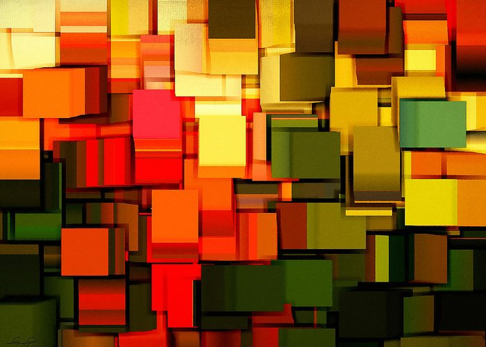 Abstract Greeting Card featuring the digital art Modern Abstract I by Lourry Legarde