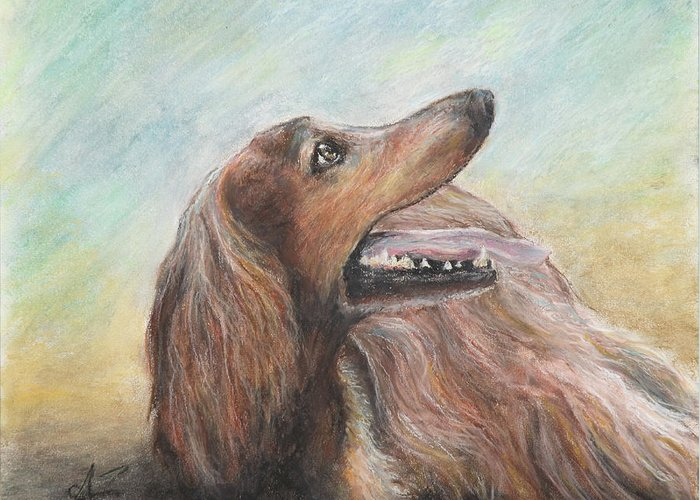 Dog Greeting Card featuring the pastel Molly by Arthur Fix