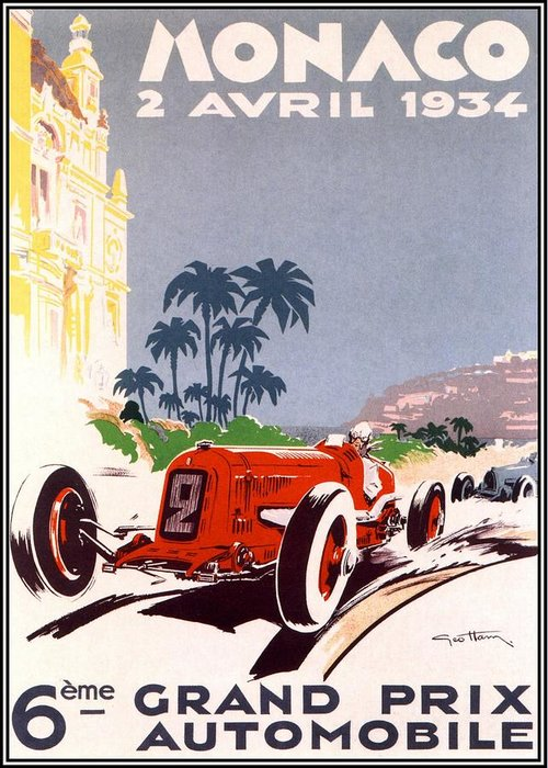 F1 Greeting Card featuring the digital art Monaco Grand Prix 1934 by Georgia Fowler