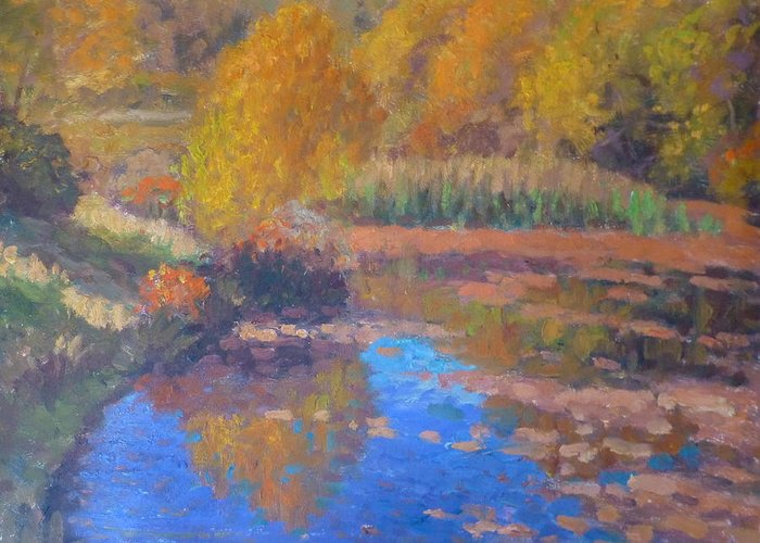 Pond. Greeting Card featuring the painting Monets Pond. Whitechapple by Terry Perham