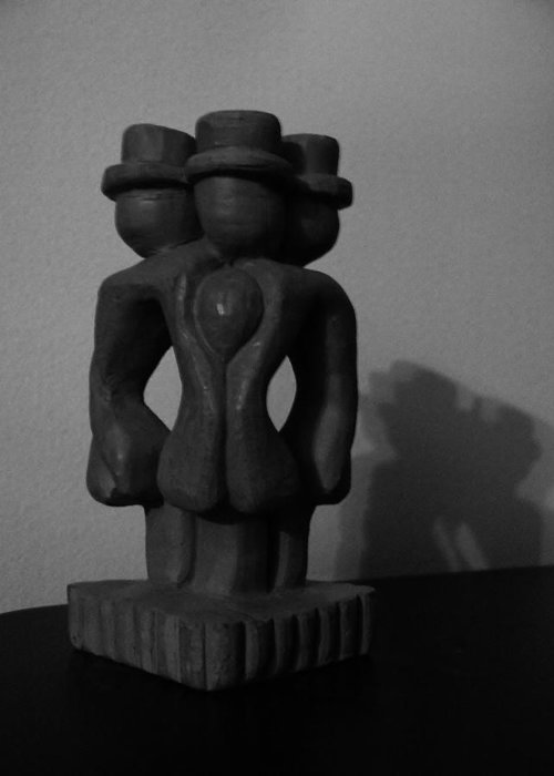 Sculpture Greeting Card featuring the sculpture Monopoly by Barbara St Jean