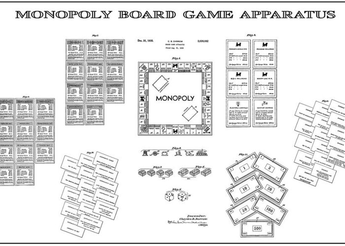 Monopoly Greeting Card featuring the digital art Monopoly Board Game Patent Art 1935 by Daniel Hagerman