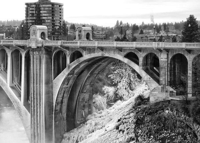 Spokane Greeting Card featuring the photograph Monroe Street Bridge Iced Over - Spokane Washington by Daniel Hagerman