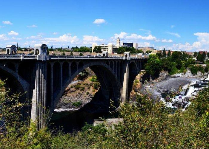 Spokane River Greeting Card featuring the photograph Monroe Street Bridge - Spokane by Michelle Calkins