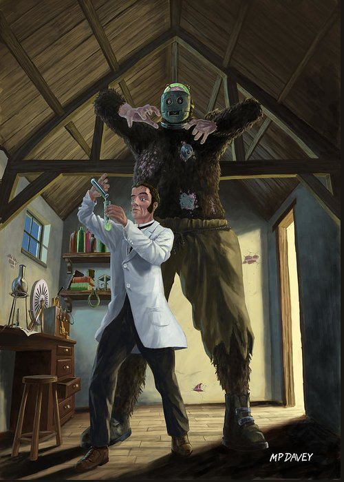 Monster Greeting Card featuring the painting Monster In Victorian Science Laboratory by Martin Davey