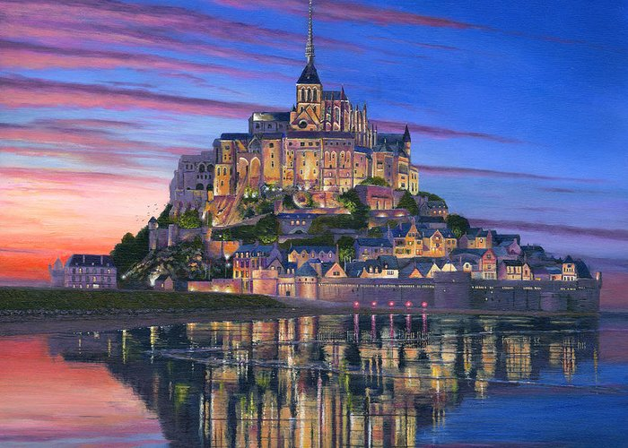 Architecture Art Greeting Card featuring the painting Mont Saint-michel Soir by Richard Harpum