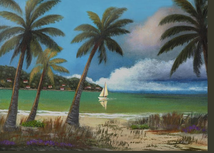 Tropical Greeting Card featuring the painting Montego Bay by Gordon Beck