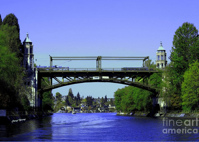 Montlake Greeting Card featuring the photograph Montlake Bridge 2 by Cheryl Young