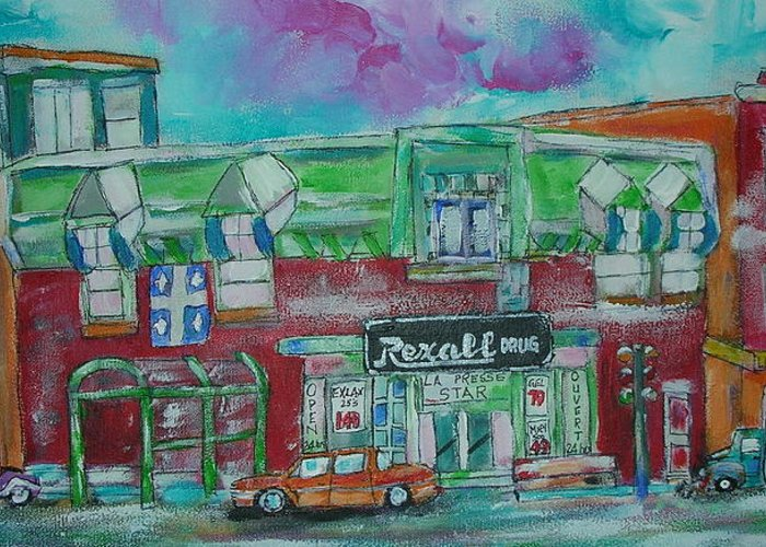 Litvack Greeting Card featuring the painting Montreal Pharmacy by Michael Litvack