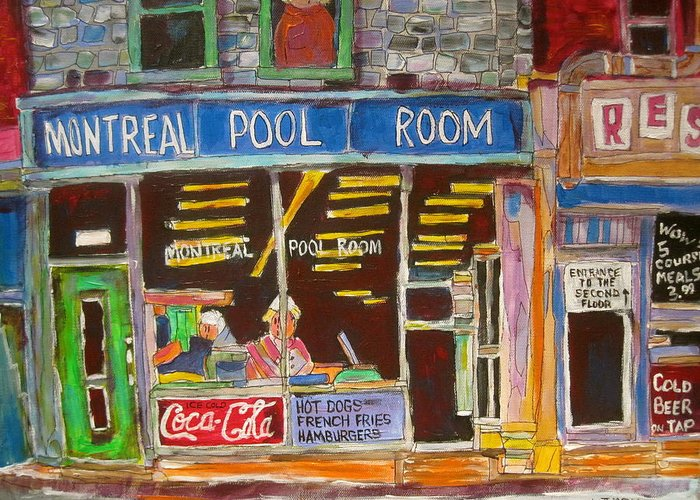 Montreal Pool Room Greeting Card featuring the painting Montreal Pool Room by Michael Litvack
