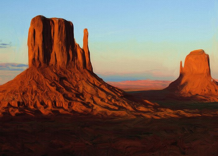 Monument Valley Greeting Card featuring the painting Monument Valley 2 by Ayse Deniz