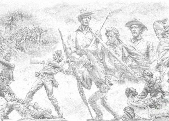 Monuments On The Gettysburg Battlefield Sketch Greeting Card featuring the digital art Monuments On The Gettysburg Battlefield Sketch by Randy Steele