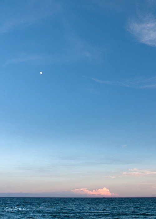 Moon And Pink Cloud Greeting Card featuring the photograph Moon And Pink Cloud by Michelle Wiarda