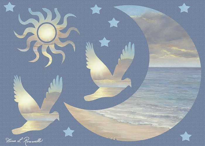 Moon Greeting Card featuring the painting Moon And Stars by Diane Romanello