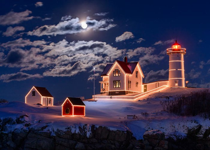 Cape Neddick Greeting Card featuring the photograph Moon Over Nubble by Michael Blanchette