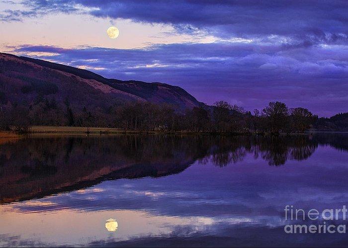 Loch Greeting Card featuring the photograph Moon Rising Over Loch Ard by John Farnan