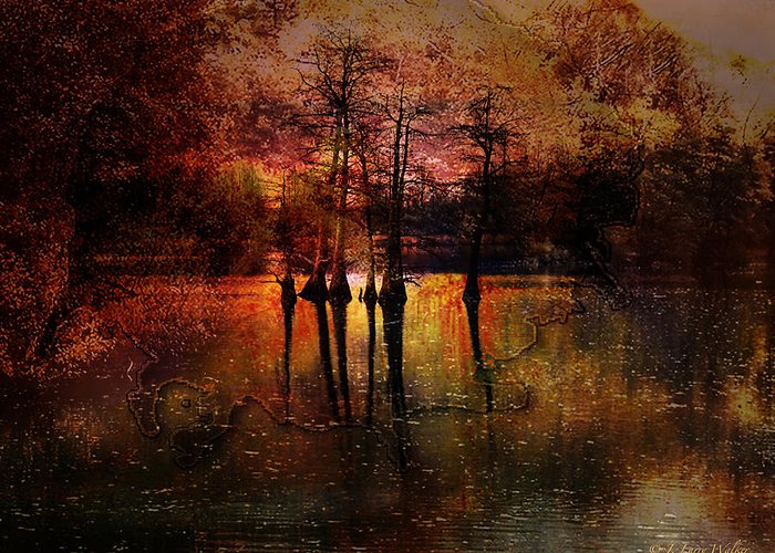 J Larry Walker Greeting Card featuring the digital art Moon Setting Over Reelfoot Lake by J Larry Walker