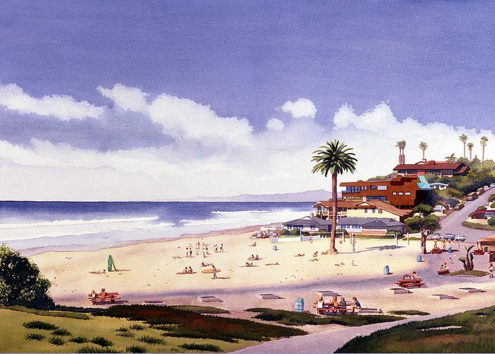Beach Greeting Card featuring the painting Moonlight Beach Encinitas by Mary Helmreich