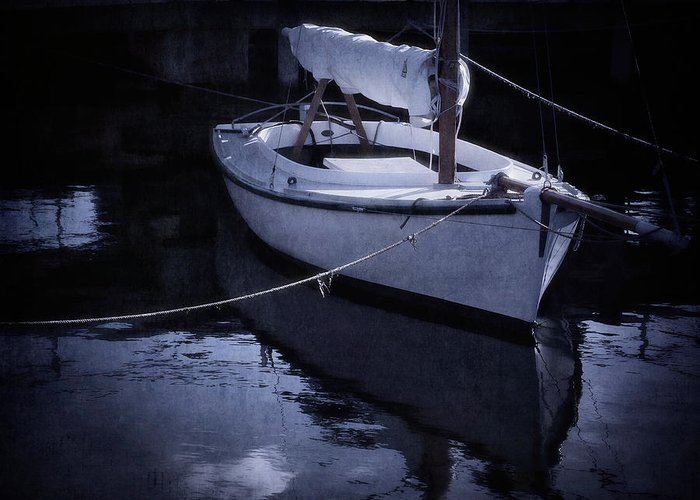 Boat Greeting Card featuring the photograph Moonlight Sail by Amy Weiss