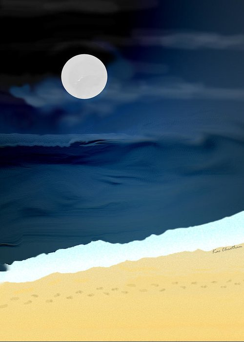 Digital Painting Greeting Card featuring the digital art Moonlight Walk At Low Tide by Kae Cheatham