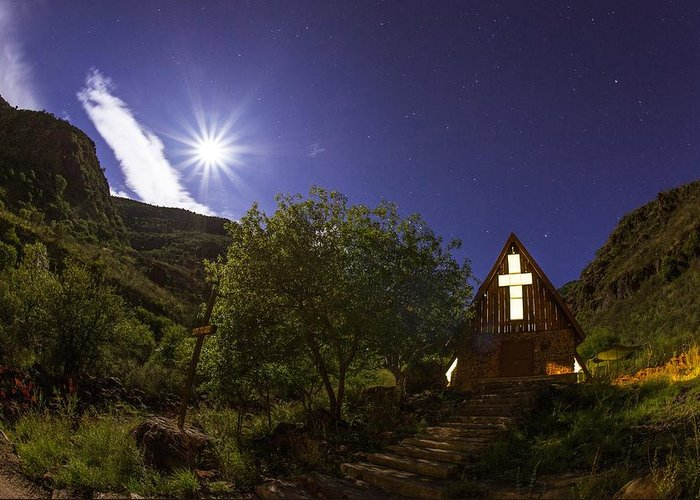 Night Greeting Card featuring the photograph Moonrise Chapel by Aaron S Bedell