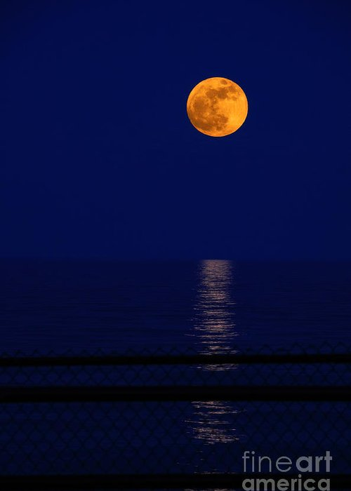 Moon Greeting Card featuring the photograph Moonrise Over Water by Charline Xia