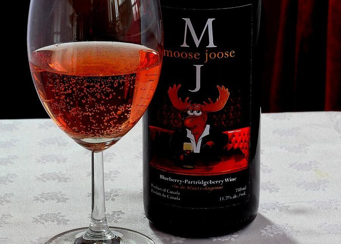 Moose Joose Greeting Card featuring the photograph Moose Joose - Blueberry Partridgeberry Wine by Barbara Griffin