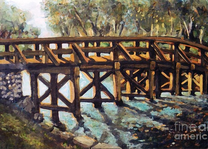 Concord Greeting Card featuring the painting Morning At The Old North Bridge by Rita Brown