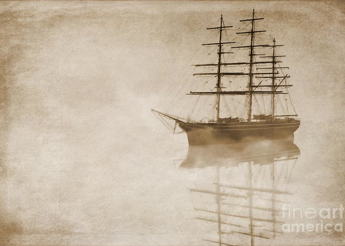 Sailing Ship Greeting Card featuring the digital art Morning Mist In Sepia by John Edwards