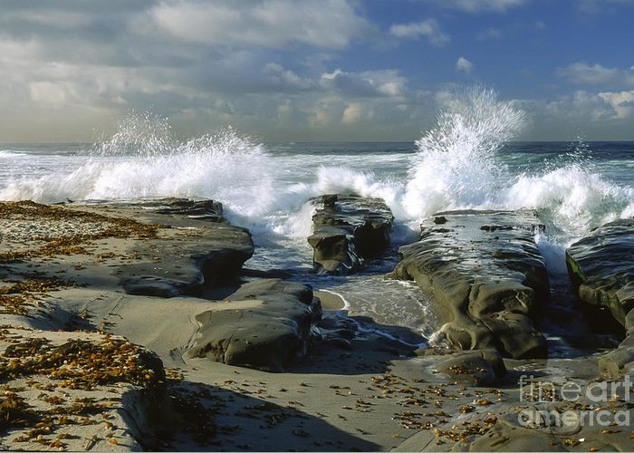 California Greeting Card featuring the photograph Morning Tide In La Jolla by Sandra Bronstein
