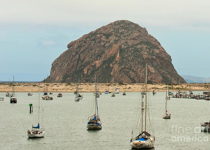 Morro Bay Ca Greeting Card featuring the photograph Morro Bay Rock At Dawn by Artist and Photographer Laura Wrede