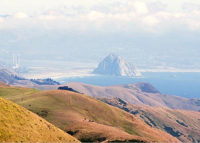 Big Sur Greeting Card featuring the photograph Morro Bay Rock Vista Overlooking Highway 46 Paso Robles California by Artist and Photographer Laura Wrede