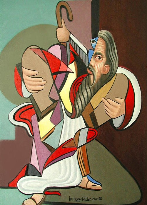 Moses Greeting Card featuring the painting Moses by Anthony Falbo