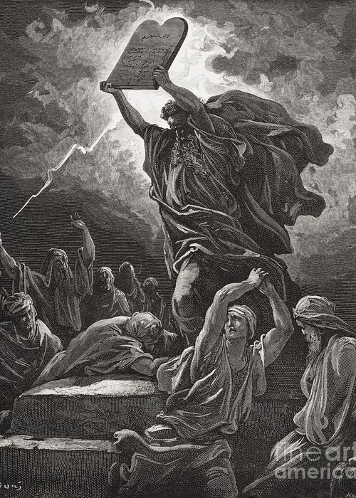 Tables Greeting Card featuring the painting Moses Breaking The Tablets Of The Law by Gustave Dore