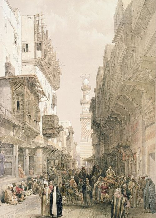 Street Greeting Card featuring the painting Mosque El Mooristan by David Roberts