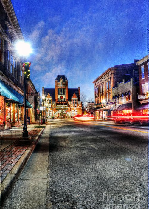 Painterly Greeting Card featuring the photograph Most Beautiful Small Town In America At Christmas by Darren Fisher