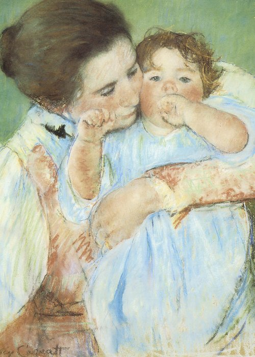Mary Cassatt Greeting Card featuring the pastel Mother And Child Against A Green Background by Mary Cassatt