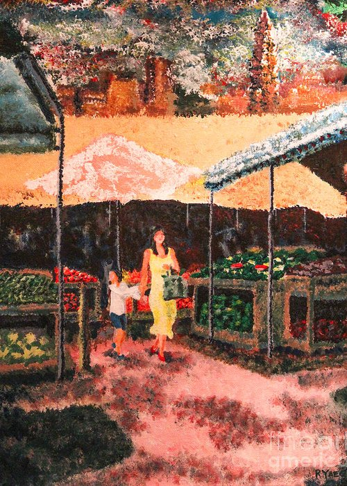 Painting Greeting Card featuring the painting Mother And Child At The Farmer's Market by Robert Yaeger