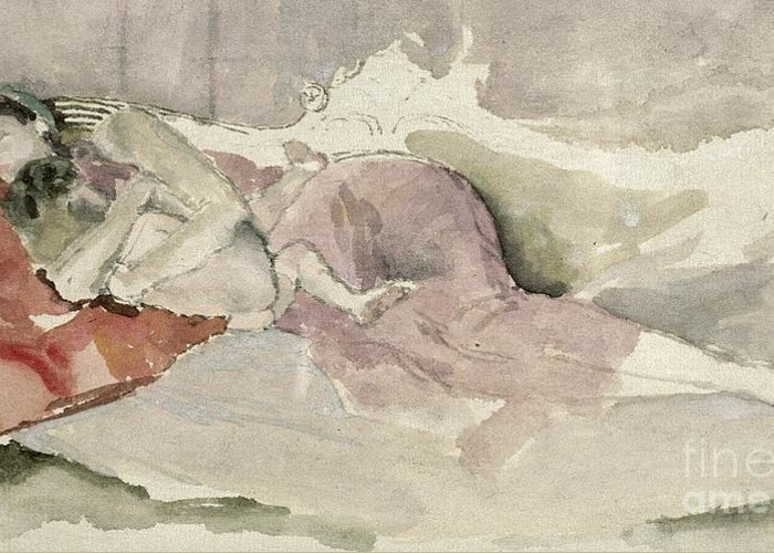 Watercolour Greeting Card featuring the painting Mother And Child On A Couch by James Abbott McNeill Whistler