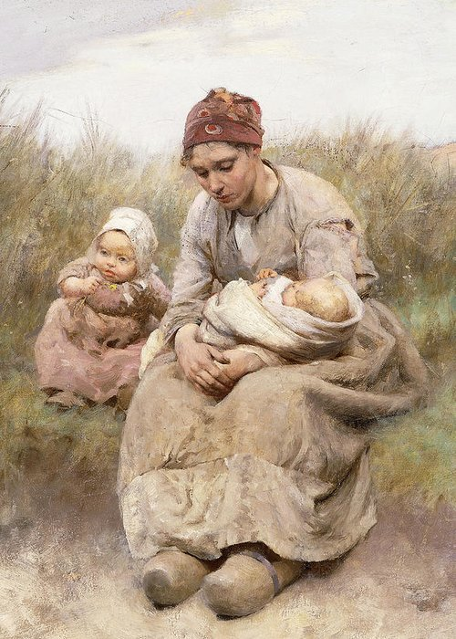 Adult; Apparel; Artwork; Baby; Child; Clothing; Country; Depressed; Difficulty; Dress; Family; Female; Fine Art; Full-length; Kid; Late Nineteenth Century; Mcgregor; Mom; Oil On Canvas; Painting; Parent; People; Poor; Posture; Road; Robert Mcgregor; Roadside; Rural; Sand Dune; Seated; Third Class; Toddler; Unhappy; Women; Youth; Greeting Card featuring the painting Mother And Child by Robert McGregor